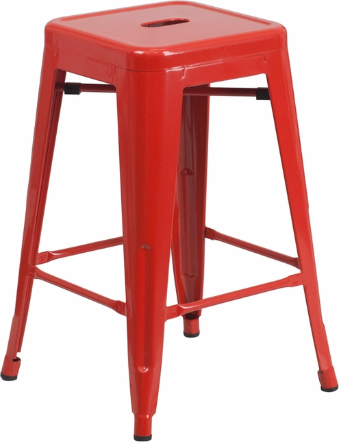 24'' High Backless Red Metal Indoor Outdoor Counter Height Stool W/ Square Seat