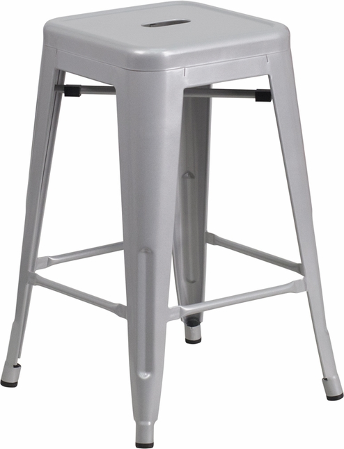 24'' High Backless Silver Metal Indoor Outdoor Counter Height Stool