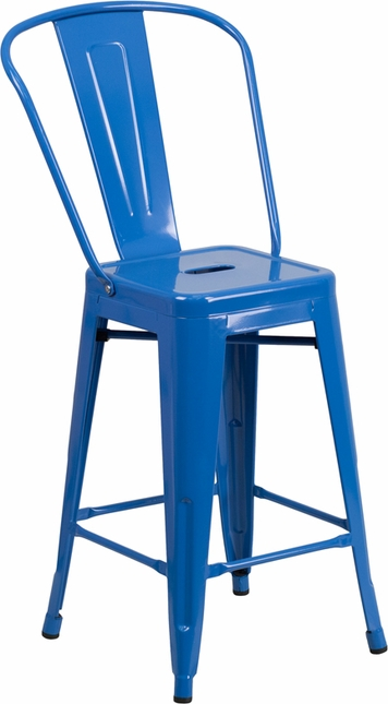 24'' High Blue Metal Indoor-outdoor Counter Height Stool With Back