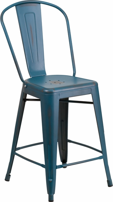 24'' High Distressed Kelly Blue Metal Indoor Outdoor Counter Height Stool W/ Back