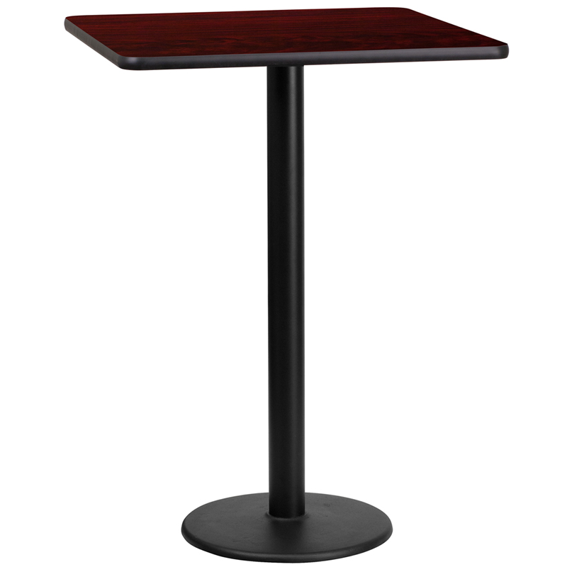 Coffee Height Square Small Table Base Round: 24'' Square Mahogany Laminate Table Top With 18'' Round