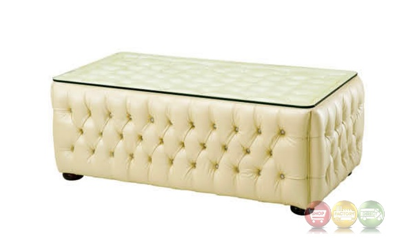 Tufted leather coffee table cream coffee table with for Cream glass coffee table