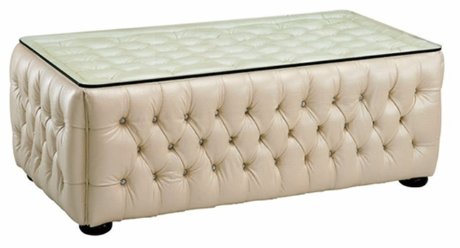 258 Rhinestone Tufted Cream Beige Leather Coffee Table With Glass Top
