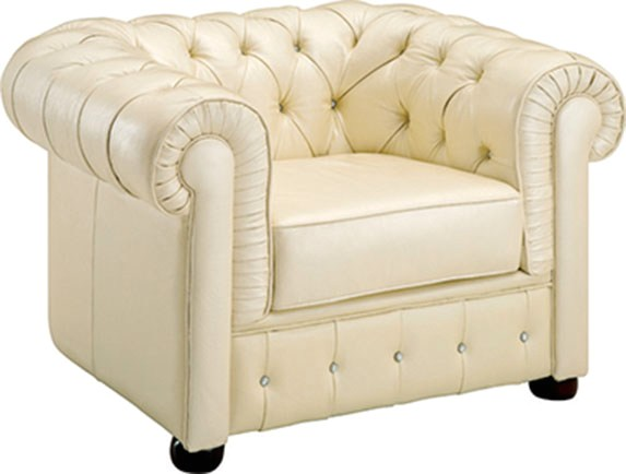 258 Rhinestone Tufted Chesterfield Chair In Cream Beige Top Grain Leather