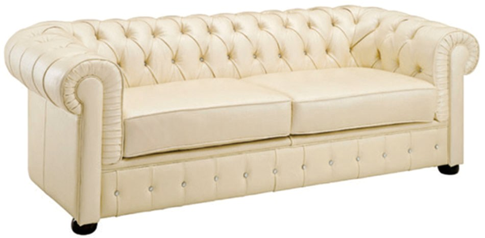 258 rhinestone tufted chesterfield sofa in cream beige top grain leather. Black Bedroom Furniture Sets. Home Design Ideas