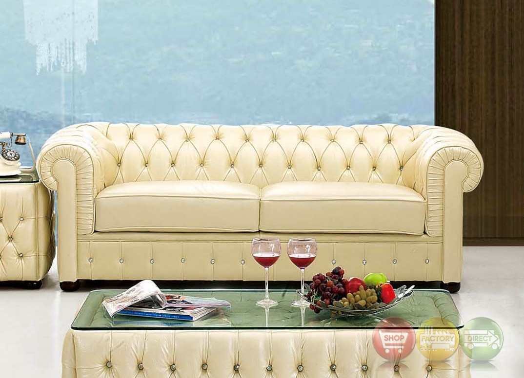 258 rhinestone tufted chesterfield sofa in beige leather ebay. Black Bedroom Furniture Sets. Home Design Ideas
