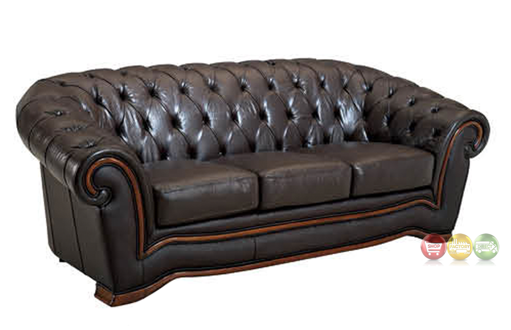 Tufted Chesterfield Sofa Brown Italian Leather Sofa