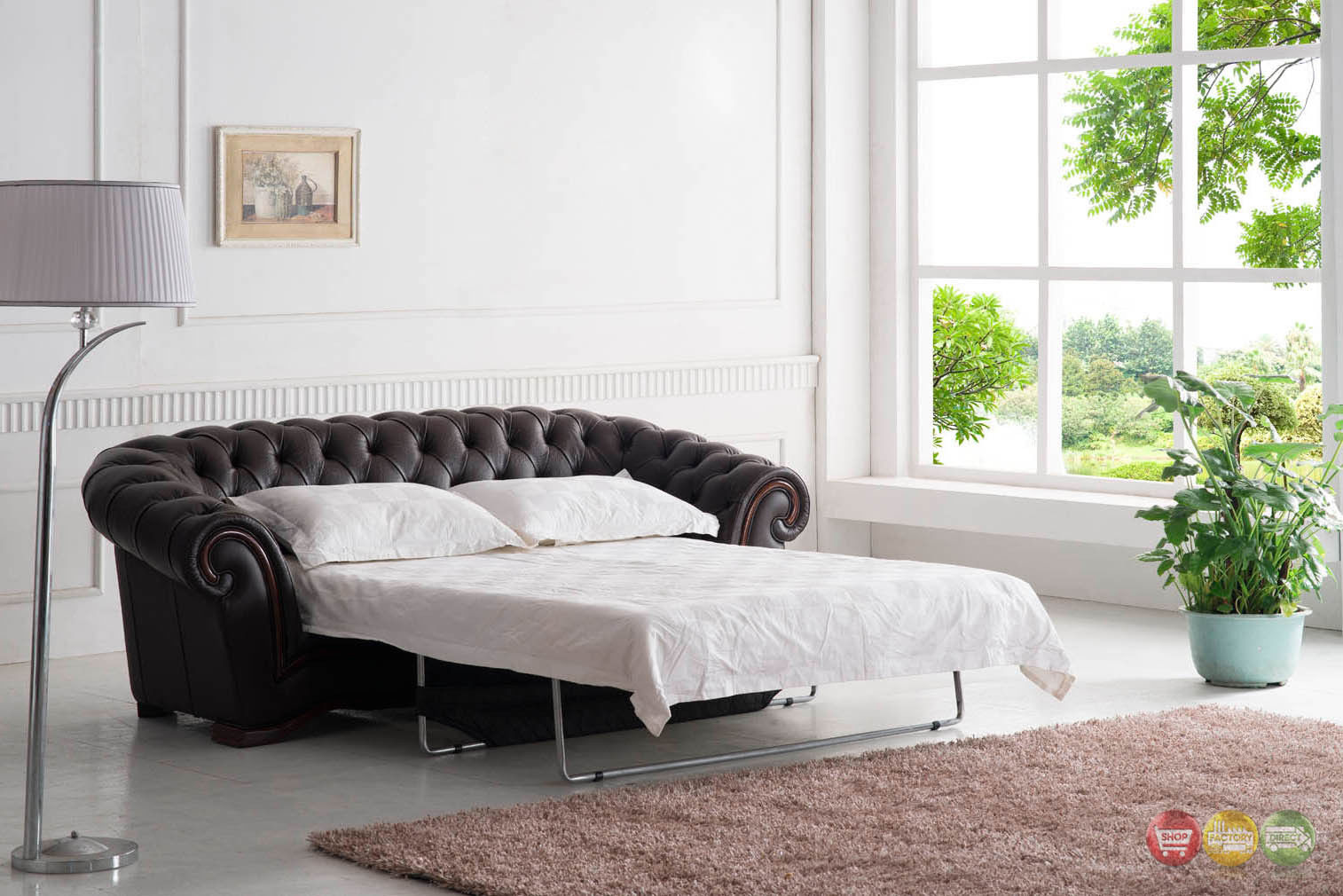 Tufted sleeper sofa italian leather sleeper sofa for Tufted leather sleeper sofa