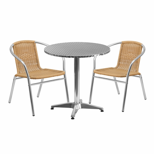27.5'' Round Aluminum Indoor-Outdoor Table With 2 Beige Rattan Chairs