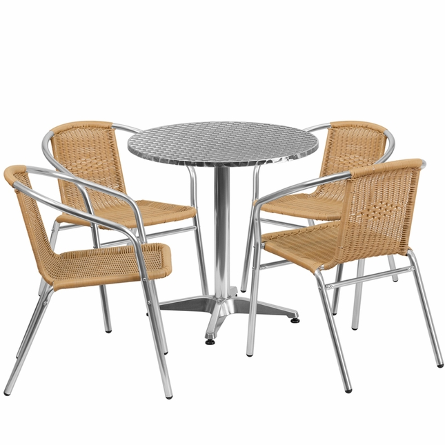 27.5'' Round Aluminum Indoor-Outdoor Table With 4 Beige Rattan Chairs