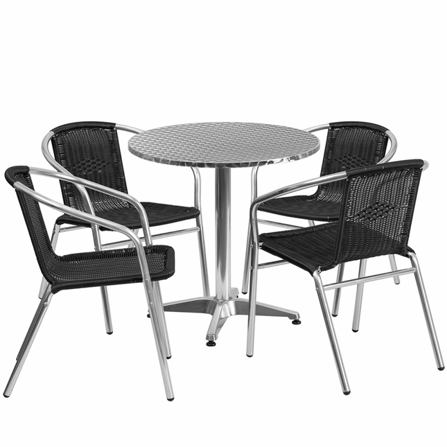 27.5'' Round Aluminum Indoor-Outdoor Table With 4 Black Rattan Chairs