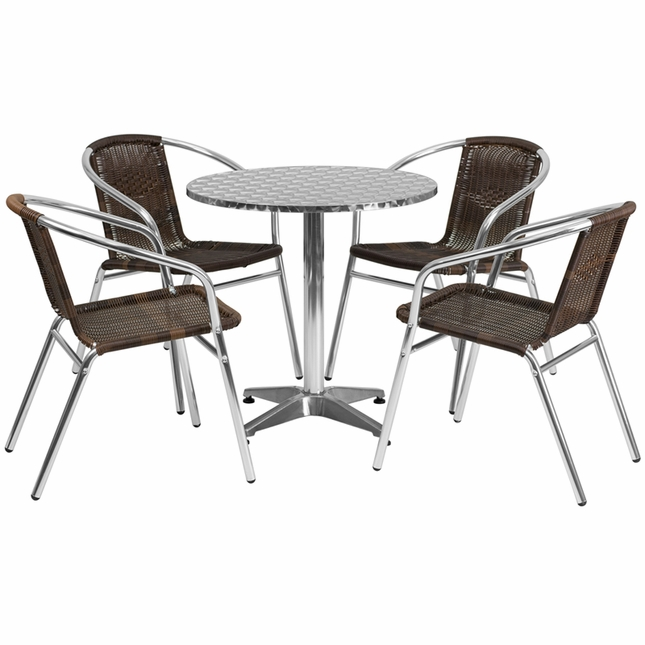 27.5'' Round Aluminum Indoor-Outdoor Table With 4 Dark Brown Rattan Chairs