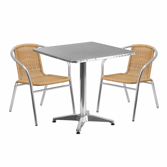 27.5'' Square Aluminum Indoor-Outdoor Table With 2 Beige Rattan Chairs