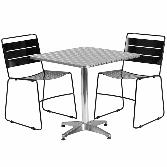27.5'' Square Aluminum Indoor-Outdoor Table With 2 Black Metal Stack Chairs