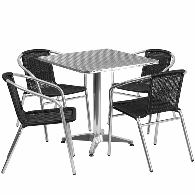 27.5'' Square Aluminum Indoor-Outdoor Table With 4 Black Rattan Chairs