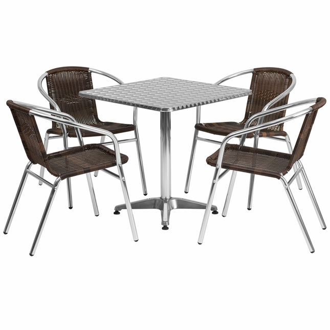27.5'' Square Aluminum Indoor-Outdoor Table With 4 Dark Brown Rattan Chairs