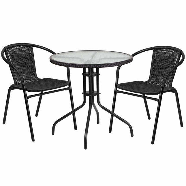 28'' Round Glass Metal Table W/ Black Rattan Edging & 2 Black Rattan Chairs