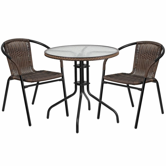28'' Round Glass Metal Table W/ Brown Rattan Edging & 2 Brown Rattan Chairs