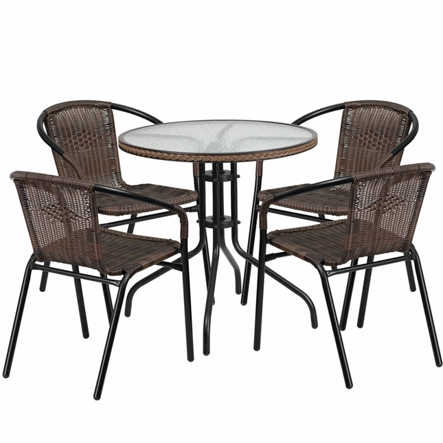 28'' Round Glass Metal Table W/ Brown Rattan Edging & 4 Brown Rattan Chairs