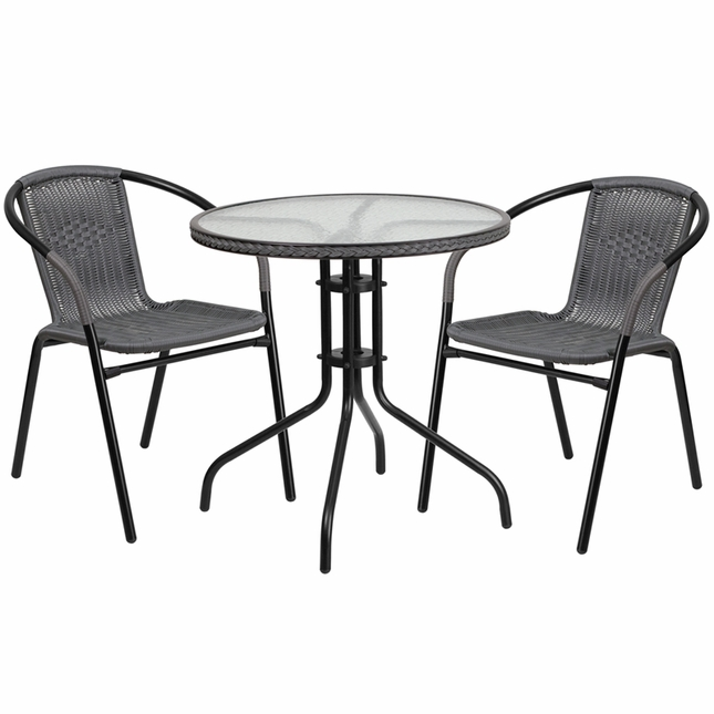 28'' Round Glass Metal Table W/ Gray Rattan Edging & 2 Gray Rattan Stack Chairs