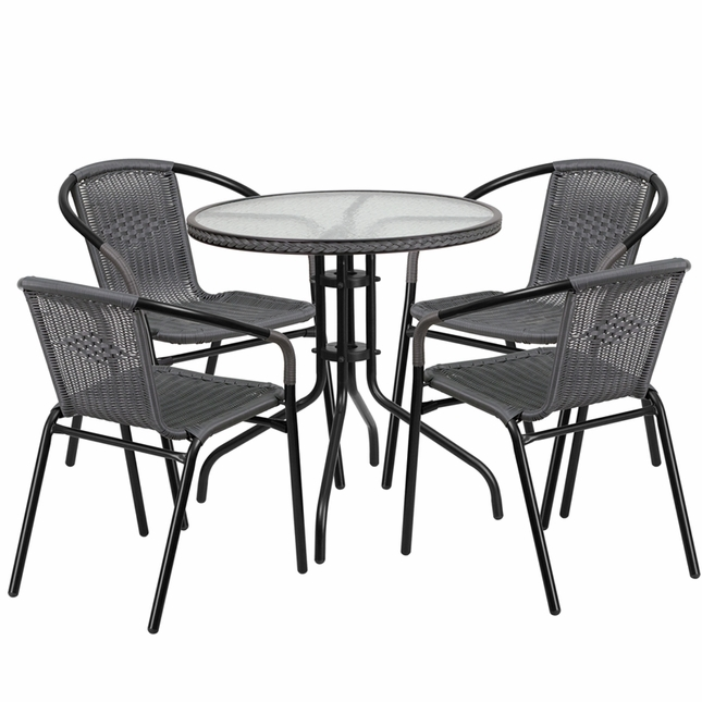 28'' Round Glass Metal Table W/ Gray Rattan Edging & 4 Gray Rattan Stack Chairs