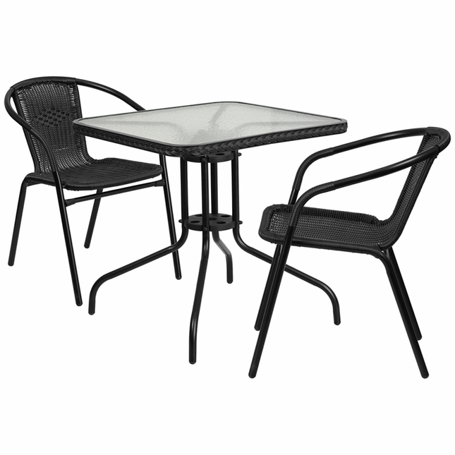 28'' Square Glass Metal Table W/ Black Rattan Edging & 2 Black Rattan