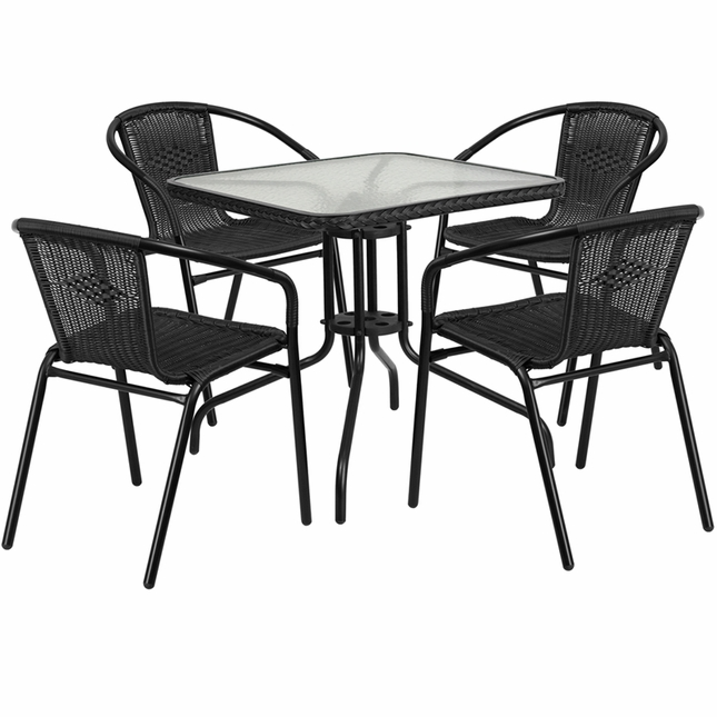28'' Square Glass Metal Table W/ Black Rattan Edging & 4 Black Rattan Chairs