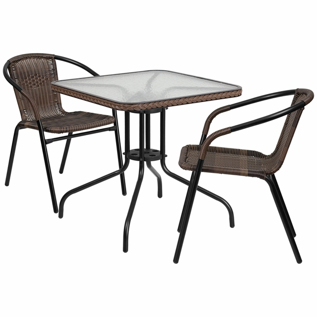 28'' Square Glass Metal Table W/ Brown Rattan Edging & 2 Brown Rattan Chairs