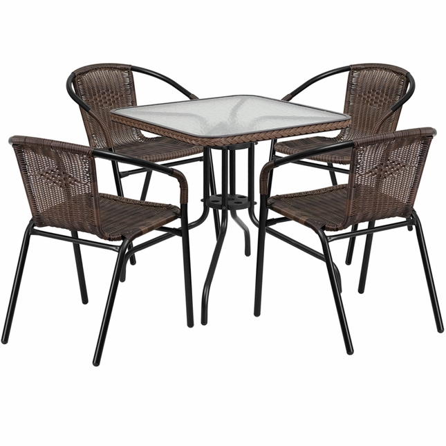 28'' Square Glass Metal Table W/ Brown Rattan Edging & 4 Brown Rattan Chairs