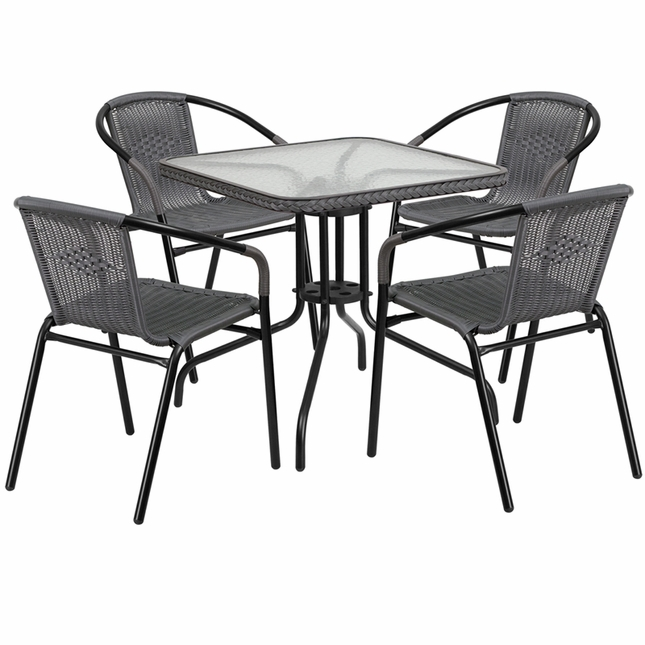 28'' Square Glass Metal Table W/ Gray Rattan Edging & 4 Gray Rattan Stack Chairs