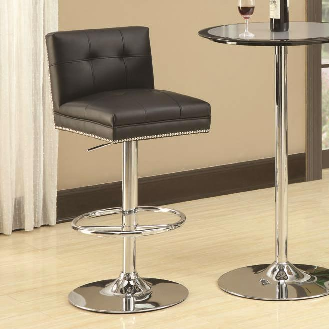 29 Inch Chrome Adjustable Height Faux Leather Stool