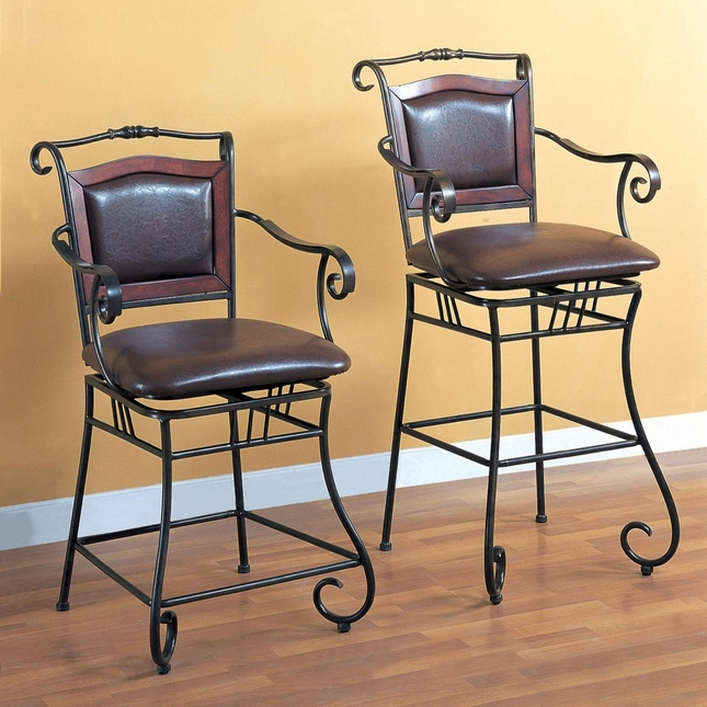 29 Inch Sturdy Metal Black Tone Curved Arms Bar Stool