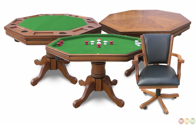 3-in-1 Dark Oak Finish Poker Game Table and Chair Set