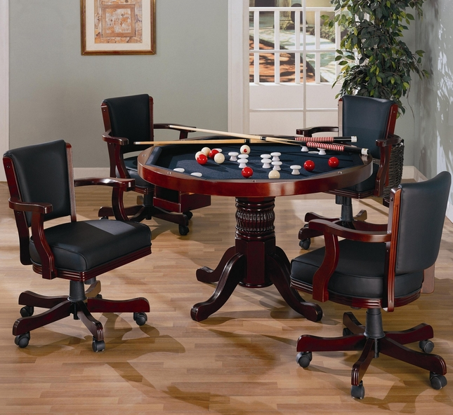 Mitchell 3-in-1 Recreational Game Room Table & 4 Arm Chairs in Rich Merlot Finish