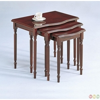 3 Piece Nesting Table Set Cherry Finish Accent Tables