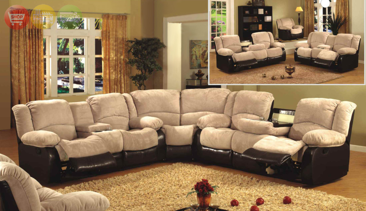 3 piece sectional sofa love seat wedge two tone tan for Sectional recliner sofa with cup holders in chocolate microfiber