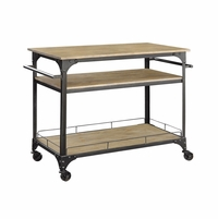 3 Shelved Kitchen Cart With Lockable Caster Wheels