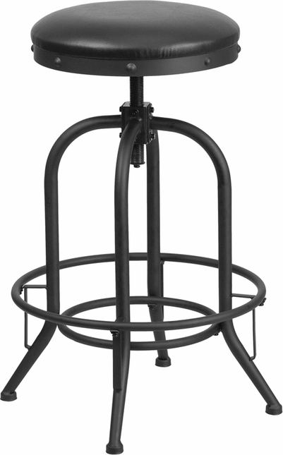 30 Barstool With Swivel Lift Black Leather Seat
