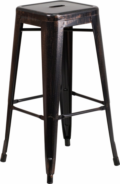 30'' High Backless Black Antique Gold Metal Indoor Outdoor Barstool W/ Square Seat