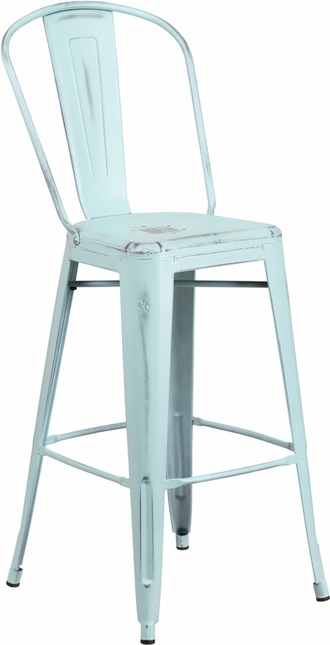 30'' High Distressed Dream Blue Green Metal Indoor-outdoor Barstool With Back