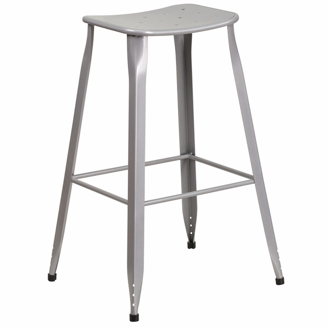 30'' High Silver Metal Indoor-outdoor Barstool