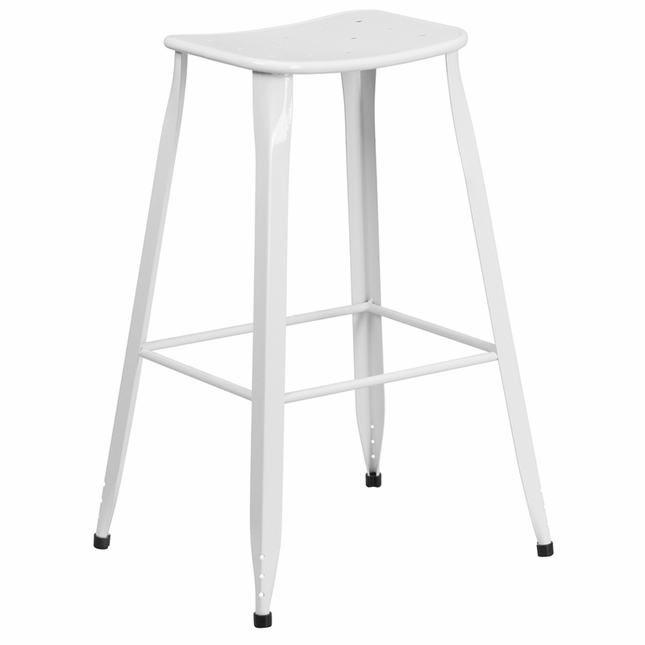 30'' High White Metal Indoor-outdoor Barstool