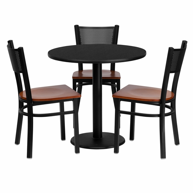 30'' Round Black Laminate Table Set W/ 3 Grid Back Metal Chairs Cherry Wood Seat