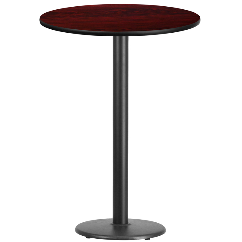 30 39 39 round mahogany laminate table top with 18 39 39 round bar height table base. Black Bedroom Furniture Sets. Home Design Ideas