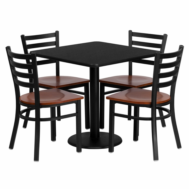30'' Square Black Laminate Table Set W/ 4 Cherry Wood  Metal Chairs