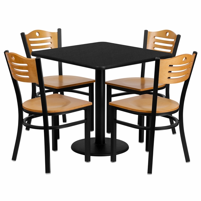 30'' Square Black Laminate Table Set W/ 4 Wood Slat Back Metal Chairs