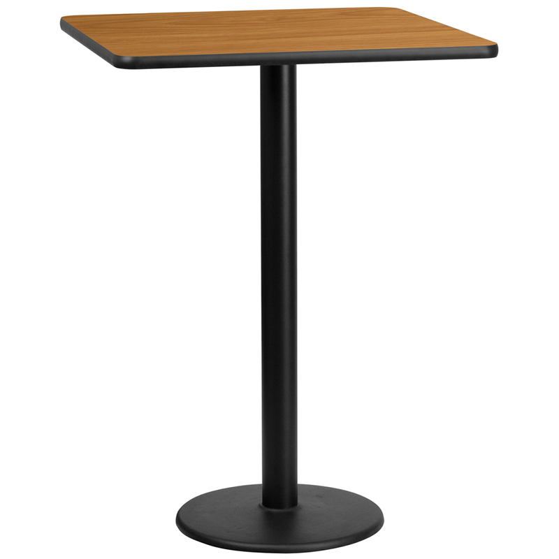 Coffee Height Square Small Table Base Round: 30'' Square Natural Laminate Table Top With 18'' Round Bar