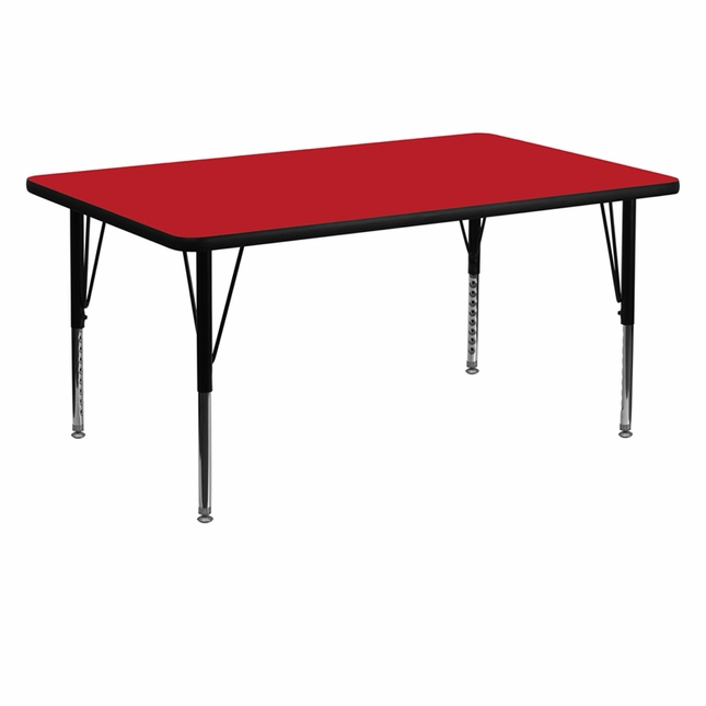 "30""Wx60""L Rectangular Activity Table W/ Red Laminate Top & Adjustable Legs"