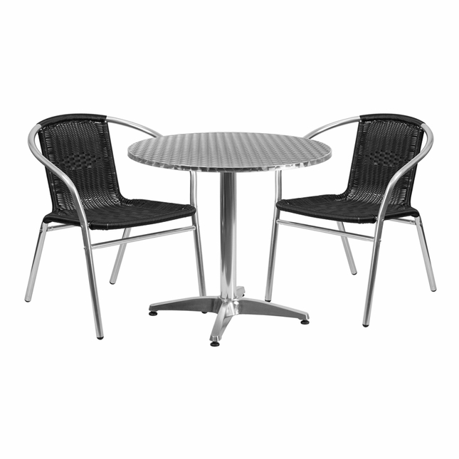 31.5'' Round Aluminum Indoor-Outdoor Table With 2 Black Rattan Chairs