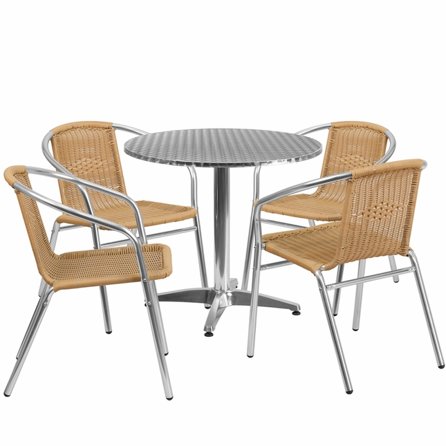 31.5'' Round Aluminum Indoor-Outdoor Table With 4 Beige Rattan Chairs